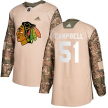 Youth Adidas Chicago Blackhawks Brian Campbell Camo Veterans Day Practice Jersey - Authentic
