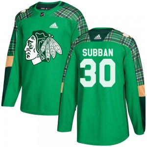 Youth Adidas Chicago Blackhawks Malcolm Subban Green ized St. Patrick's Day Practice Jersey - Authentic