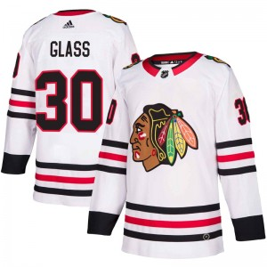 Youth Adidas Chicago Blackhawks Jeff Glass White Away Jersey - Authentic