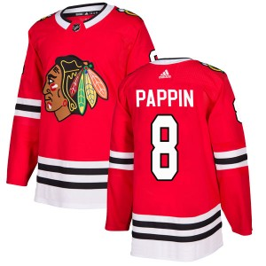Men's Adidas Chicago Blackhawks Jim Pappin Red Home Jersey - Authentic