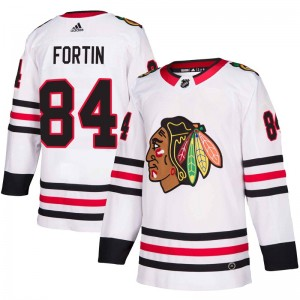 Men's Adidas Chicago Blackhawks Alexandre Fortin White Away Jersey - Authentic