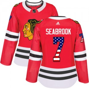 Women's Adidas Chicago Blackhawks Brent Seabrook Red USA Flag Fashion Jersey - Authentic